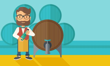 inspecting: A wine maker standing wearing his apron holding a bottle of wine inspecting from barrel inside the wine storage room. A contemporary style with pastel palette dark blue tinted background.  flat design illustration. Horizontal layout with text space in rig