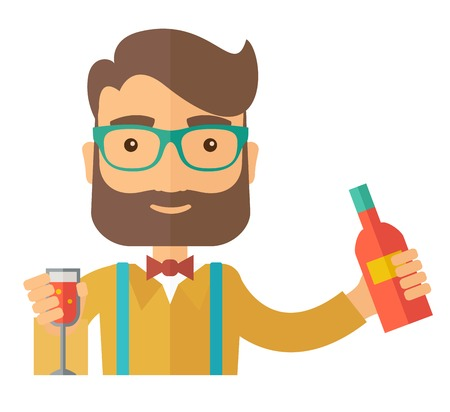 A young bartender preparing a mixed drinks at a bar, several bottles of alcohol and wine glass behind him. A Contemporary style.  flat design illustration isolated white background. Square layout.