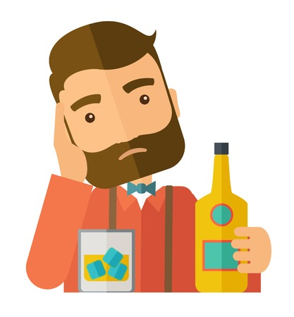 A caucasian sad man is having a problem drinking beer in the bar. Depressed concept .A Contemporary style.  flat design illustration isolated white background. Square layout. Stock Photo