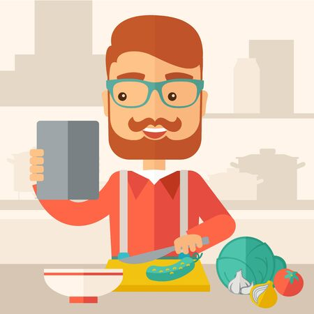 A caucasian worker trying to cook for dinner in his kitchen while looking at the cook book as his guide. Learning concept. A Contemporary style with pastel palette, soft beige tinted background.  flat design illustration. Square layout.