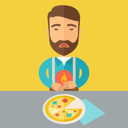 fire in the belly: A sick man has a stomach burn or Abdominal pain after he ate a slice of pizza. A Contemporary style with pastel palette, a yellow tinted background.  flat design illustration. Square layout.