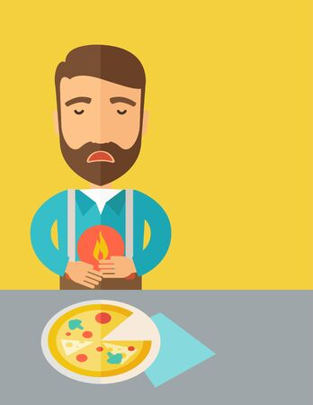 fire in the belly: A sick man has a stomach burn or Abdominal pain after he ate a slice of pizza. A Contemporary style with pastel palette, a yellow tinted background.  flat design illustration. Vertical layout with text space in right side.