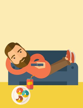 A man lying in the sofa holding a remote with three donuts and soda on the floor. Relaxing concept. A Contemporary style with pastel palette, soft beige tinted background.  flat design illustration. Vertical layout with text space on top part. Stock Photo
