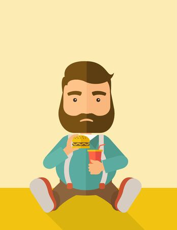 excess: A fat man sitting on the floor while eating hamburger and soda for his drink. Food concept. A Contemporary style with pastel palette, soft beige tinted background.  flat design illustration. Vertical layout with text space on top part.