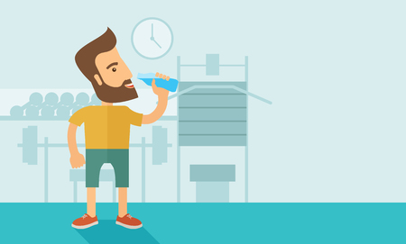 A hipster gentleman drink a bottle of energy drink before he start to exercise inside the gym. Healthy, fitness concept. A contemporary style with pastel palette soft blue tinted background.  flat design illustration. Horizontal layout with text sapce in  Stock Photo