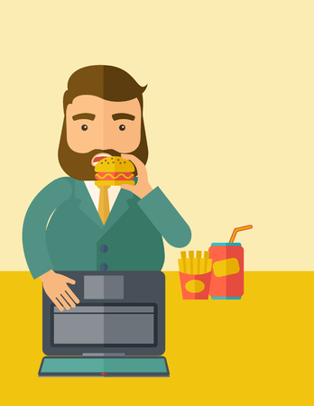 burger and fries: A young fat guy eating burger, fries, and soda for drink while working on his laptop. Business concept. A Contemporary style with pastel palette, soft beige tinted background.  flat design illustration. Vertical layout with text space on upper right side.