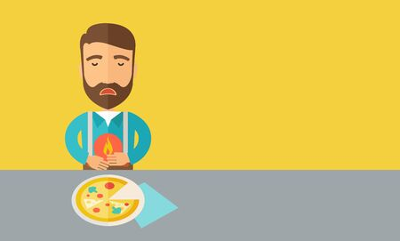 A sick man has a stomach burn or Abdominal pain after he ate a slice of pizza. A Contemporary style with pastel palette, a yellow tinted background.  flat design illustration. Horizontal layout with text space in right side.