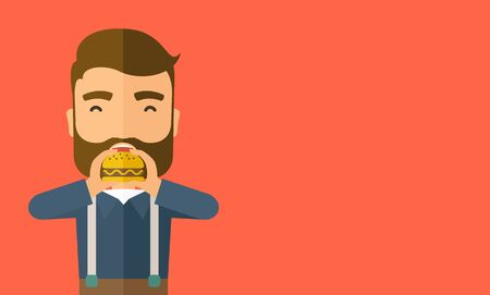 A happy Hipster office man eating hamburger as his snack break. Relaxing concept. A Contemporary style with pastel palette, orange tinted background.  flat design illustration. Horizontal layout with text space in right side. Stock Photo