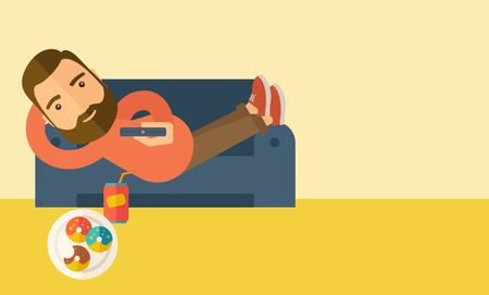 A man lying in the sofa holding a remote with three donuts and soda on the floor. Relaxing concept. A Contemporary style with pastel palette, soft beige tinted background.  flat design illustration. Horizontal layout with text space in right side.