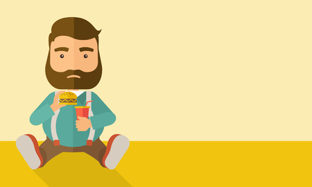 excess: A fat man sitting on the floor while eating hamburger and soda for his drink. Food concept. A Contemporary style with pastel palette, soft beige tinted background.  flat design illustration. Horizontal layout with text space in right side.