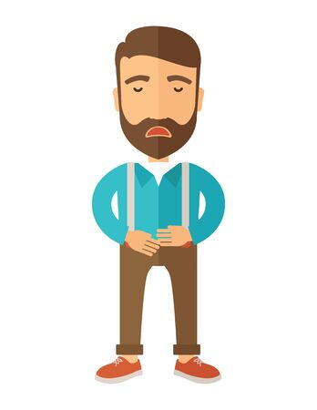 gastroenteritis: A sick man standing while holding his stomach has a abdominal pain. A Contemporary style.  flat design illustration isolated white background. Vertical layout.