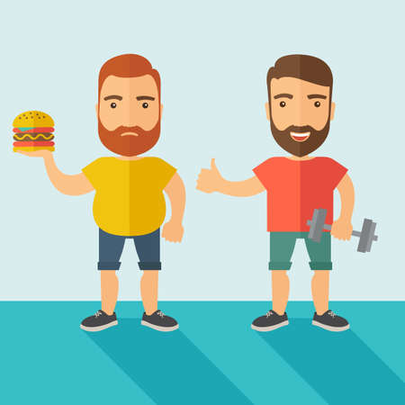 athletic wear: A two handsome caucasian men wearing shorts and sleeveless the yellow shirt with hamburger and the red shirt with dumbell. Contemporary style with pastel palette, soft blue tinted background.  flat design illustrations. Square layout. Stock Photo