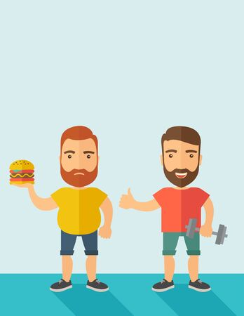 caucasian men: A two handsome caucasian men wearing shorts and sleeveless the yellow shirt with hamburger and the red shirt with dumbell. Contemporary style with pastel palette, soft blue tinted background.  flat design illustrations. Vertical layout with text space on