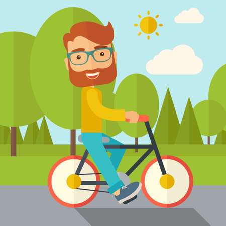 A happy caucasian riding a bicycle under the sun. Contemporary style with pastel palette, soft blue tinted background with desaturated cloud.  flat design illustrations. Square layout. Reklamní fotografie