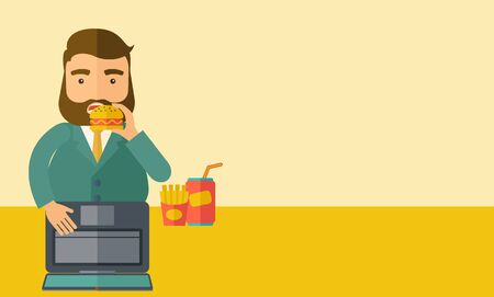burger and fries: A young fat guy eating burger, fries, and soda for drink while working on his laptop. Business concept. A Contemporary style with pastel palette, soft beige tinted background.  flat design illustration. Horizontal layout with text space in right side.