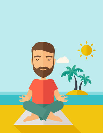A hipster man doing yoga in the beach with his yoga pad under the sun.  Contemporary style with pastel palette, soft blue tinted background with desaturated cloud.  flat design illustrations. Vertical layout with text space on top part.
