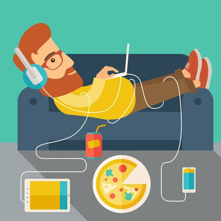A Young caucasian man with headphone lie on the sofa listening music with pizza. Contemporary style with pastel palette, soft green tinted background.  flat design illustrations. Square layout.