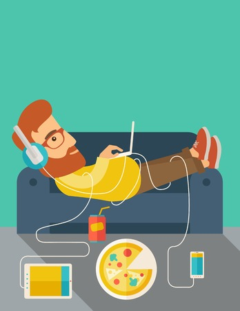 A Young caucasian man with headphone lie on the sofa listening music with pizza. Contemporary style with pastel palette, soft green tinted background.  flat design illustrations. vertical layout with text space on top part.