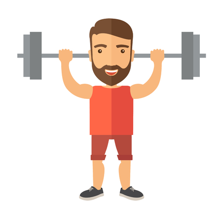 A handsome caucasian man lifting a barbell with fitness attire inside the gym. A Contemporary style.  flat design illustration isolated white background. Square layout