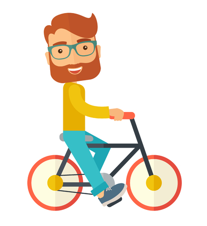 A happy caucasian riding a bicycle under the sun. A Contemporary style.  flat design illustration isolated white background. Square layout Reklamní fotografie