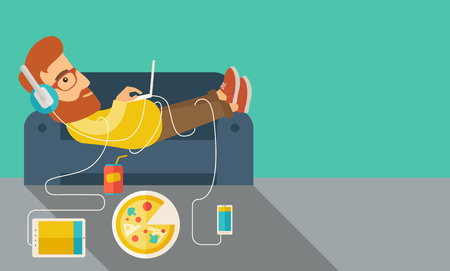 A Young caucasian man with headphone lie on the sofa listening music with pizza. Contemporary style with pastel palette, soft green tinted background.  flat design illustrations. Horizontal layout with text space in right side.