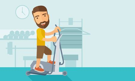 A happy caucasian in gym sport workout exercises. Contemporary style with pastel palette, soft blue tinted background.  flat design illustrations. Horizontal layout with text space in right side.