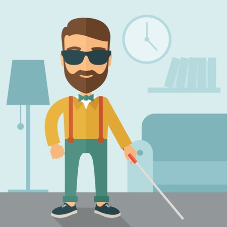 invalid: A blind caucasian with walking stick inside the house. Contemporary style with pastel palette, soft blue tinted background.  flat design illustrations. Square layout.