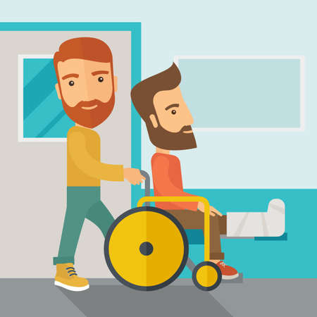 A caucasian man pushing the wheelchair with broken leg patient. Contemporary style with pastel palette, soft blue tinted background.  flat design illustrations. Square layout.