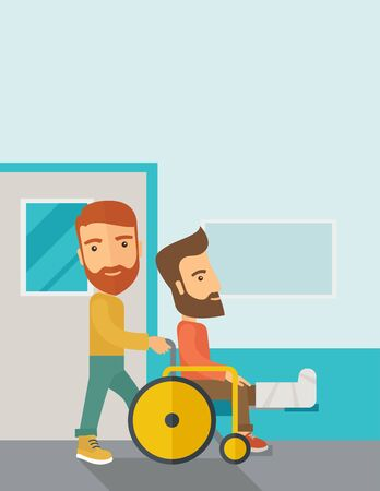 A caucasian man pushing the wheelchair with broken leg patient. Contemporary style with pastel palette, soft blue tinted background.  flat design illustrations. Vertical layout with text space on top part.