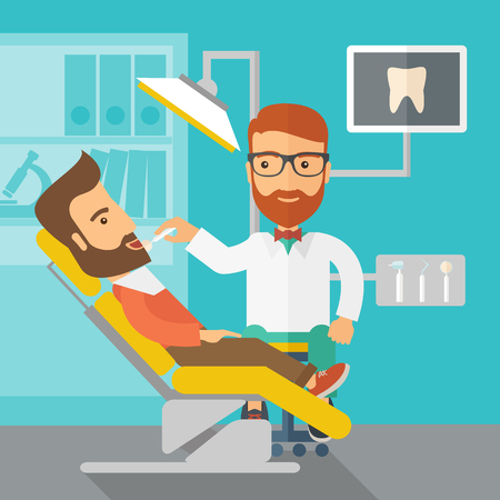 laborious: A caucasian dentist man examines a patient teeth in the clinic. Contemporary style with pastel palette, blue tinted background.  flat design illustrations. Square layout.