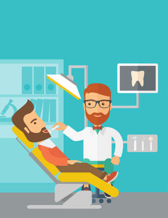 laborious: A caucasian dentist man examines a patient teeth in the clinic. Contemporary style with pastel palette, blue tinted background.  flat design illustrations. Vertical layout with text space on top part.