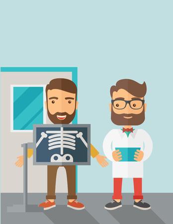 Een weergave van de mens houdt een röntgenfoto. Eigentijdse stijl met pastel palet, zachtblauwe getinte achtergrond. platte ontwerpillustraties. Verticale lay-out met tekstruimte op bovenste gedeelte.