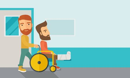 A caucasian man pushing the wheelchair with broken leg patient. Contemporary style with pastel palette, soft blue tinted background.  flat design illustrations. Horizontal layout with text space in right side.