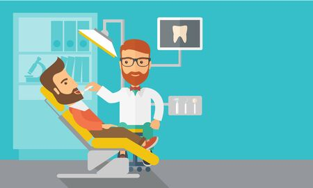 A caucasian dentist man examines a patients teeth in the clinic. Contemporary style with pastel palette, blue tinted background.  flat design illustrations. Horizontal layout with text space in right side. Stock Photo