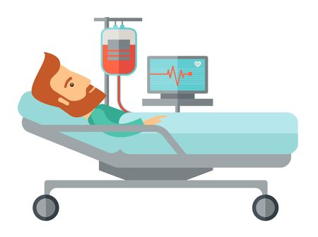 A caucasian patient in hospital bed in having a blood transfussion being monitored. A Contemporary style.  flat design illustration isolated white background. Horizontal layout. Stock Photo