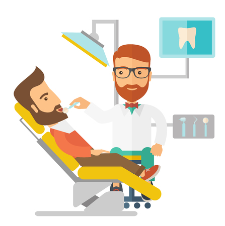 A caucasian dentist man examines a patient teeth in the clinic. A Contemporary style.  flat design illustration isolated white background. Square layout.