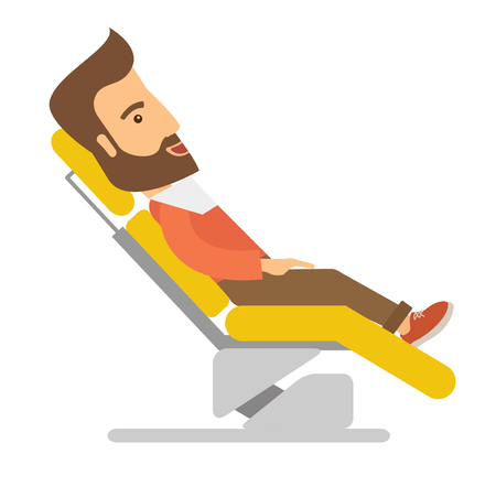 laborious: A caucasian Man lying in dentist chair.  A Contemporary style.  flat design illustration isolated white background. Square layout.