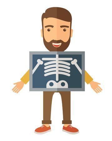 Het uitzicht van de man is die een X-ray beeld. Een eigentijdse stijl. platte ontwerp illustratie geïsoleerd witte achtergrond. verticale lay-out