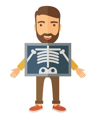 physical exam: The view of man is holding a X-ray picture. A Contemporary style.  flat design illustration isolated white background. Vertical layout