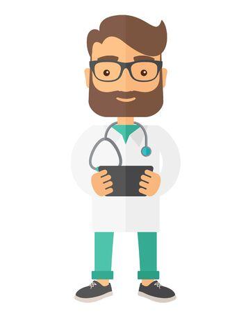 Een arts die het resultaat in x-ray. Een eigentijdse stijl. platte ontwerp illustratie geïsoleerd witte achtergrond. verticale lay-out