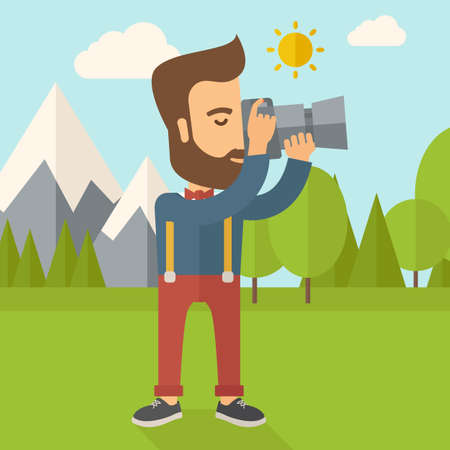 tree service pictures: A Caucasian photographer taking a picture with the trees under the sun.  flat design illustration. Square layout.