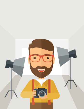 A Caucasian photographer smiling while inside the studio preparing the light and his camera to take a picture. A Contemporary style with pastel palette, soft grey tinted background.  flat design illustration. Vertical layout with text space on top part. Stok Fotoğraf - 63286207