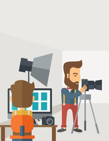 photography backdrop: A Photography studio with a light set up and white backdrop and his companion with laptop for developing the picture. A Contemporary style with pastel palette, soft grey tinted background.  flat design illustration. Vertical layout with text space on top