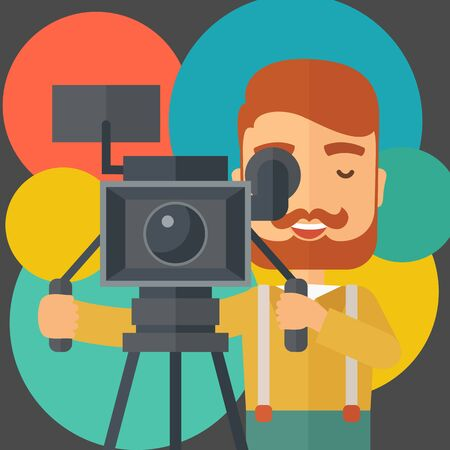 A caucasian videographer taking a video. A contemporary style with pastel palette black tinted and colorful round background.  flat design illustration. Square layout. Stock Photo