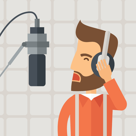 disk jockey: A caucasian radio DJ working in a radio station with headphone and microphone raising his voice. A Contemporary style with pastel palette, soft beige background.  flat design illustration. Square layout.