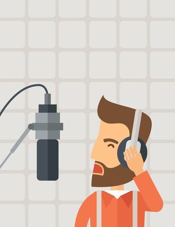 commentator: A caucasian radio DJ working in a radio station with headphone and microphone raising his voice. A Contemporary style with pastel palette, soft beige background.  flat design illustration. Vertical layout with text space on top part.