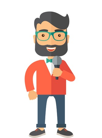 live stream tv: A broadcaster with microphone. A Contemporary style.  flat design illustration isolated white background. Vertical layout