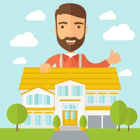 A caucasian happy for the approval of his house structure plan. A Contemporary style with pastel palette, soft blue tinted background with desaturated clouds.  flat design illustration. Square layout.
