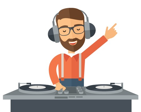 A caucasian disc jockey with headphone mixing music.  A Contemporary style.  flat design illustration isolated white background. Horizontal layout 스톡 콘텐츠