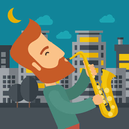 A caucasian saxophonist playing in the streets at night with moon and clouds.  flat design illustration. Square layout. Stock Photo